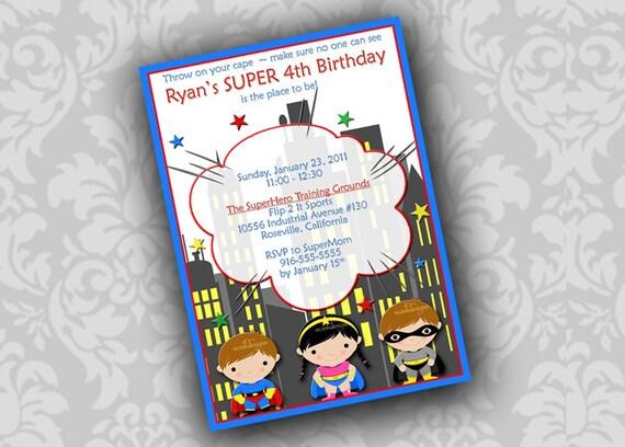 Superhero Superfriends Printable Birthday invitation  - digital