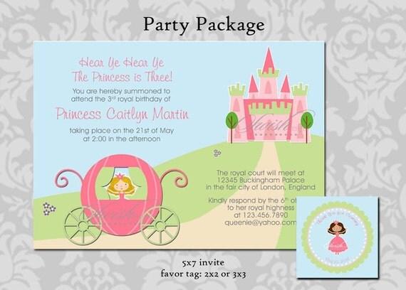 Princess birthday invitation and favor tag - 5x7 invite and 3x3 favor tag - printable diy digital carriage castle