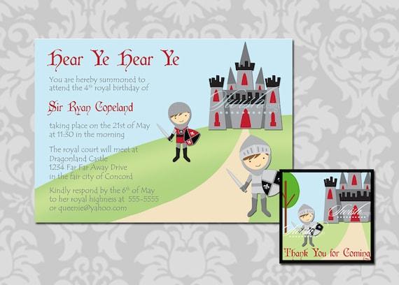 Knight Castle birthday invitation and favor tag 5x7 invite and – Knight Birthday Party Invitations