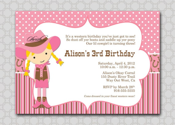 items similar to cowgirl birthday invitation - digital printable, Party invitations