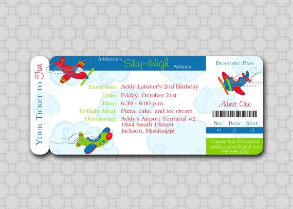 airplane birthday invitation  plane boarding pass  ticket clouds, Birthday invitations