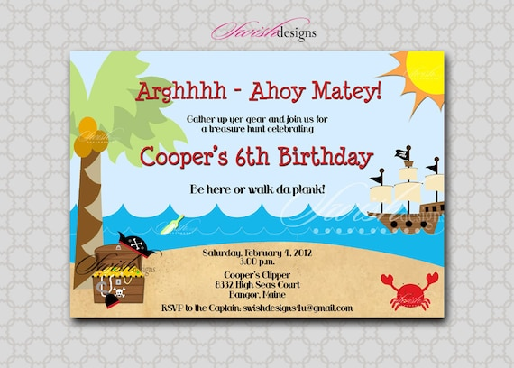 Items similar to Pirate Birthday Invitation Printable Invite – Message in a Bottle Birthday Invitations
