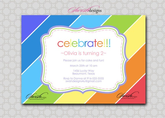 Rainbow Birthday Invitation - boy-girl- Digital Printable Birthday 5x7 Invite
