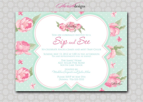 sip and see shabby chic baby shower invitation rose flower, Baby shower invitations