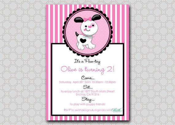 puppy birthday invitation  x printable digital invite  stripes, Birthday invitations