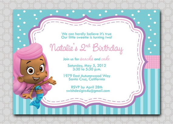 bubble mermaids guppies fish birthday invitation digital 5x7, Birthday invitations