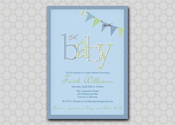 Oh Baby - Baby Shower Invitation Digital - Printable Invite - Pennant Banner Bunting