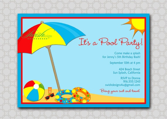 beach party invitation bbq end of the summer splash, Party invitations