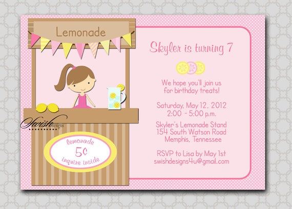 Lemonade Stand Birthday Invitation - lemon pink lemonade sunshine Printable Birthday Invite - 5x7 digital file