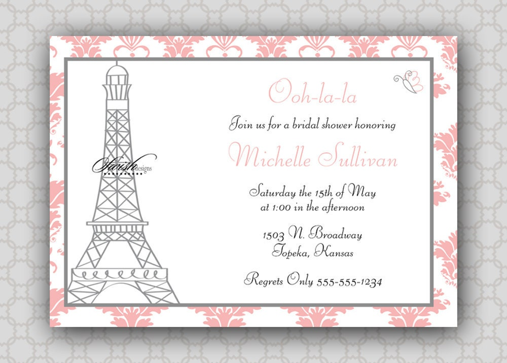 Paris Bridal Shower Invitations is an amazing ideas you had to choose for invitation design