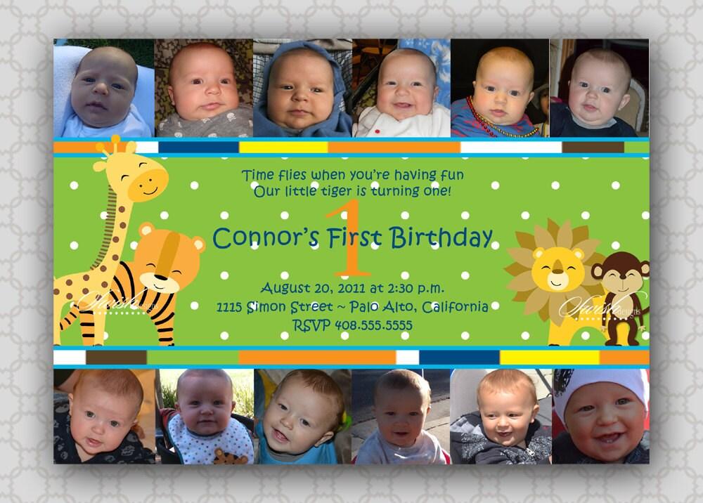 Collage First Birthday Invitation Safari Jungle photo
