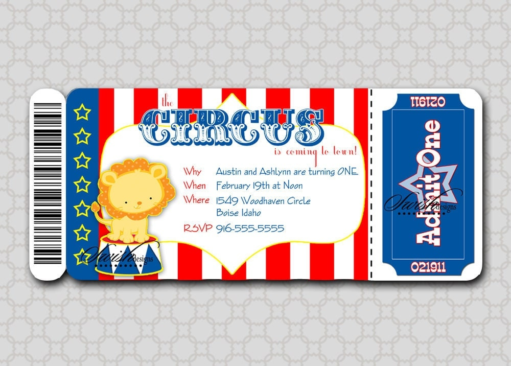Circus Birthday Invitation Boarding Pass Invitation Ticket