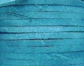 Genuine Leather Cord, Suede Lace, Turquoise, 3x1.75mm, 10ft
