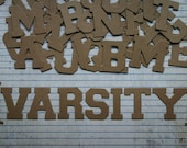 Varsity Letterman style Bare Unfinished Chipboard Alphabet Set 46 pieces