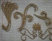 18 Bare chipboard die cuts Swirl and Flourish Set 4 different styles