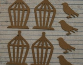 4 Birds and 4 Cages small sized Chipboard Diecuts