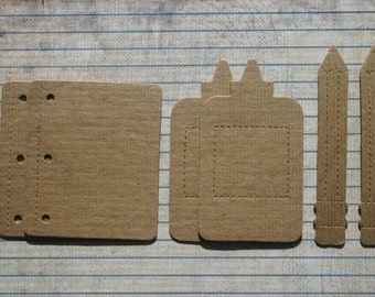 6 Bare chipboard die cuts School Supplies glue, pencil die cuts