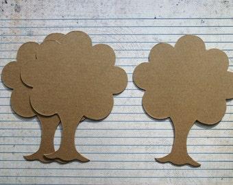 3 Bare chipboard die cuts TREE no.1 die cuts