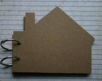 10 Page Bare Chipboard die cut House with door Mini Book