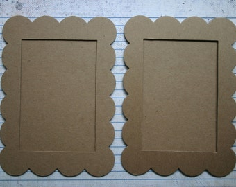 2 XL scalloped rectangle chipboard frames with backing