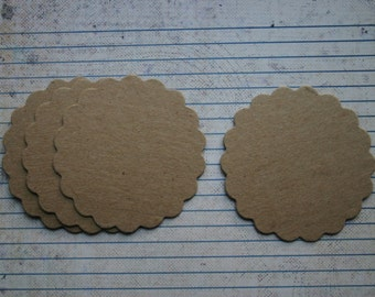 50 Scalloped Circles Bare chipboard die cuts 2 3/4""