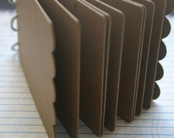 10 Page Scalloped Edge on Covers Chipboard die cut Album 5 x 3.25 inches Bookring Closure