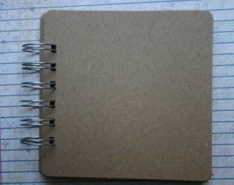 10 page square bare Chipboard die cut album with silver wire 4.5 inches