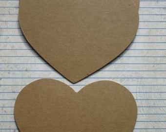 "3 Bare chipboard die cuts Heart Shaped Diecuts  5 1/8"" wide x 4 3/8"""