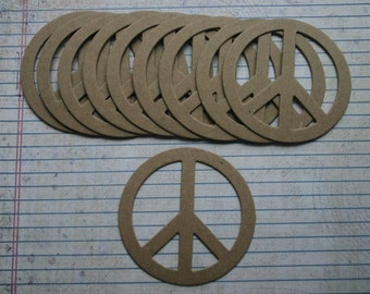 10 Bare chipboard die cuts 3 inch Peace Signs
