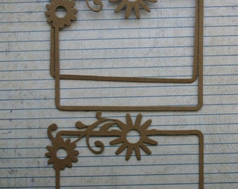 3 Bare Chipboard Rectangle Frames with thin border and flower accent