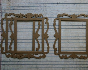3 Bare Chipboard Rectangle with scroll frame die cuts