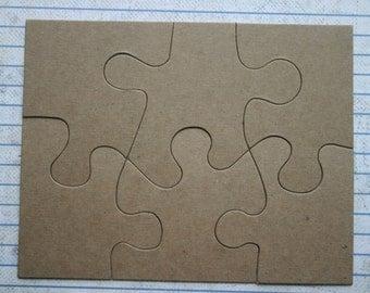 6 piece jigsaw puzzle Bare chipboard die cuts Diecut