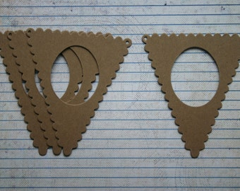 4 Unfinished chipboard Scalloped Pennant Frame diecuts