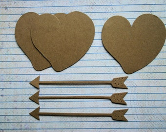3 Bare chipboard die cuts Heart with arrow diecuts