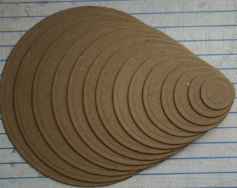 14 Bare chipboard die cuts graduated circle diecuts