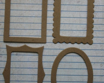 4 Bare chipboard mini frame Diecuts 4 styles 1 of each