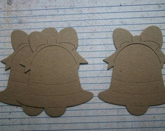 3 Bare chipboard die cuts Bell with Bow Diecuts for Christmas and more