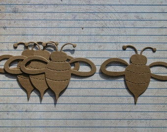 4 Bare chipboard bee diecuts