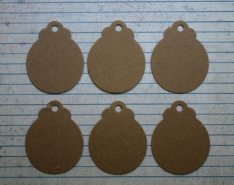 6 small round tags bare chipboard diecuts