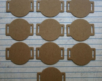 10 bare chipboard round ribbon slide tag diecuts