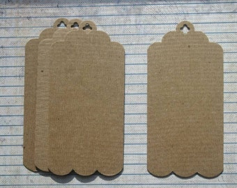 4 Bare Chipboard Tags with scalloped bottom edge