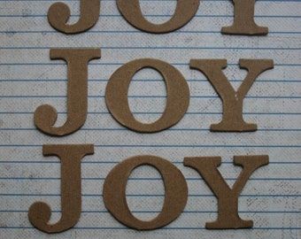 4 Bare chipboard die cuts word JOY diecuts