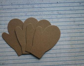 4 Bare chipboard die cuts small plain mitten diecuts