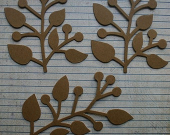 3 Bare chipboard die cuts Branches w/leaves and berries Diecuts