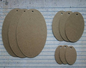 9 bare chipboard oval TAG diecuts 3 sizes