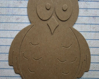 3 Bare chipboard large owl diecuts build it your way