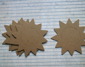 4 Bare chipboard die cuts Large Sun Shaped Diecuts