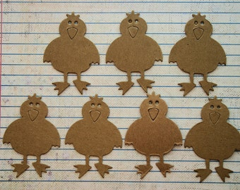 7 Bare/Unfinished chipboard Bird Chick diecuts