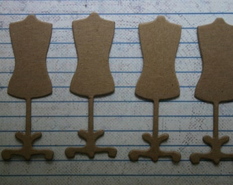 12 Unfinished chipboard die cuts SMALL Dress Form Diecuts 1 inch x 3 inch