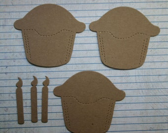 3 Cupcake with separate candle chipboard die cuts Die Cuts Med.